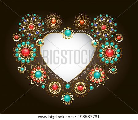 Ethnic frame in the form of a heart decorated with turquoise and jasper on a dark background. Jewelery in boho style.