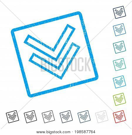 Shift Down rubber watermark in some color versions.. Vector pictogram symbol inside rounded rectangle with grunge design and dirty texture. Stamp seal illustration, unclean sticker.