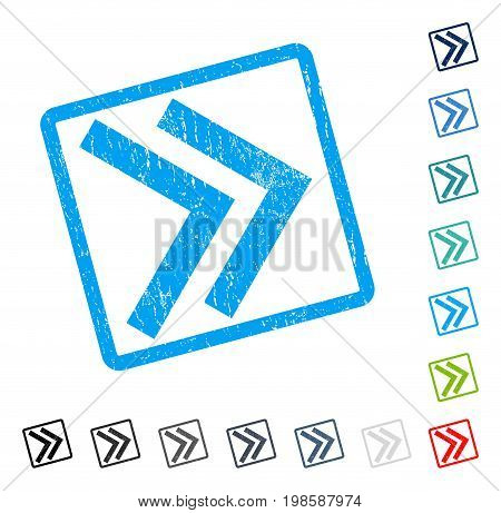 Shift Right rubber watermark in some color versions.. Vector icon symbol inside rounded rectangular frame with grunge design and scratched texture. Stamp seal illustration, unclean emblem.
