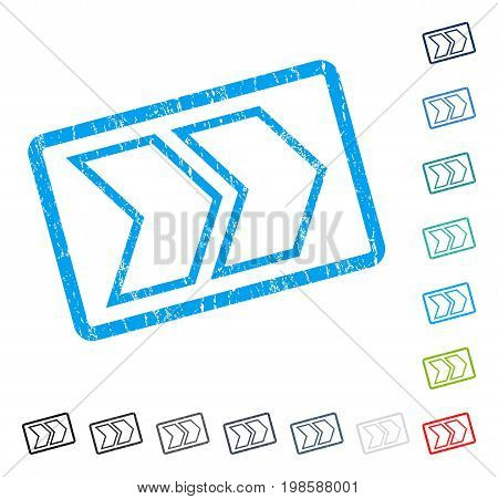 Shift Right rubber watermark in some color versions.. Vector pictogram symbol inside rounded rectangular frame with grunge design and unclean texture. Stamp seal illustration, unclean sticker.