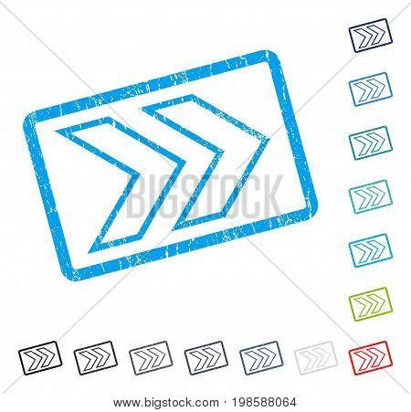 Shift Right rubber watermark in some color versions.. Vector pictogram symbol inside rounded rectangle with grunge design and unclean texture. Stamp seal illustration, unclean sticker.