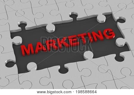 Puzzle and marketing. 3D illustration
