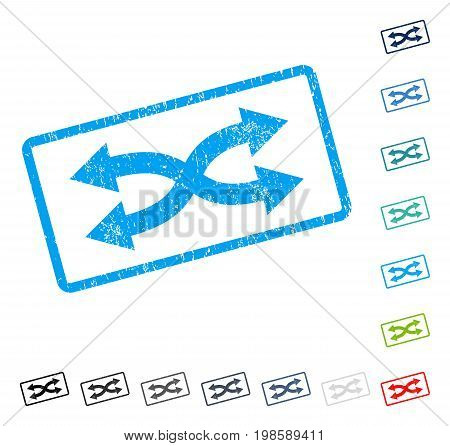 Shuffle Arrows Horizontal rubber watermark in some color versions.. Vector icon symbol inside rounded rectangular frame with grunge design and dust texture. Stamp seal illustration, unclean sign.