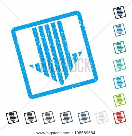 Stripe Arrow Down rubber watermark in some color versions.. Vector pictogram symbol inside rounded rectangular frame with grunge design and dirty texture. Stamp seal illustration, unclean emblem.