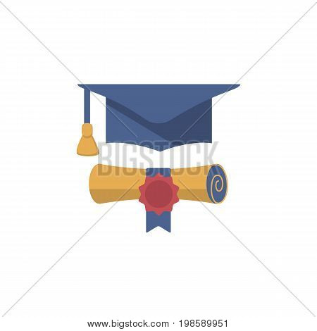 Colorful finish education symbol.  Graduation cap and diploma rolled scroll.  Flat vector illustration.