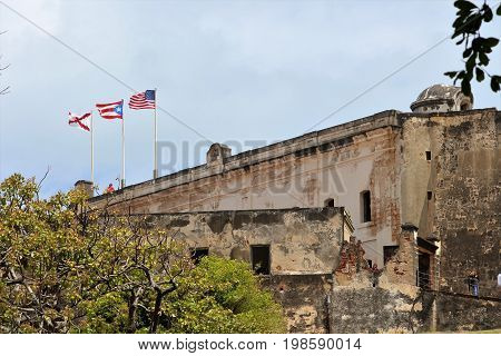 Castillo San Cristóbal Fort in San Juan Puerto Rico - 3/9/2017 tourists visit the fort in Old San Juan