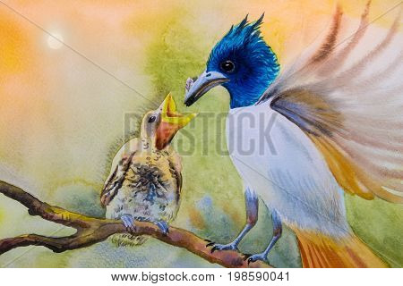 Watercolor landscape original painting on paper colorful of mother bird baby bird couple bird on a branch amidst beautiful nature and emotion in morning sun background.
