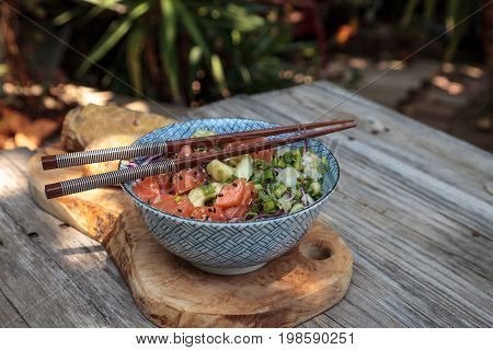 Raw Salmon Poke Bowl With Rice