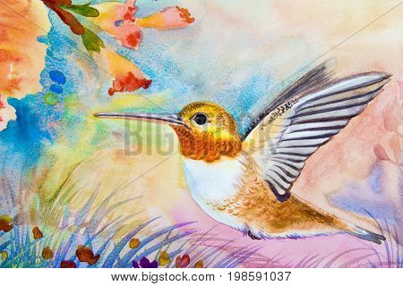 Watercolor landscape original painting on paper colorful of hummingbird flying from eat flower nectar and emotion in sky background
