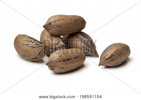 Organic unshelled pecan nuts on white background