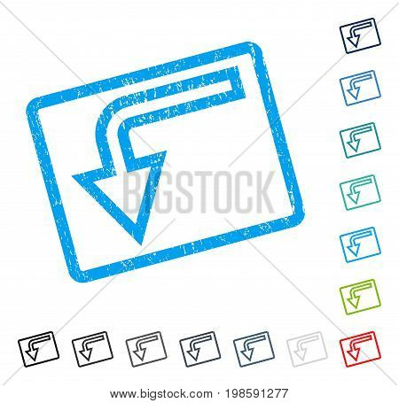 Turn Down rubber watermark in some color versions.. Vector pictogram symbol inside rounded rectangular frame with grunge design and unclean texture. Stamp seal illustration, unclean emblem.