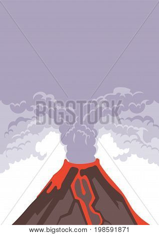 The eruption of the volcano, smoke and volcanic ash into the sky. Hot lava flows down the mountainside. Vector illustration with copy space.