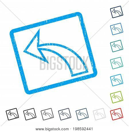 Undo rubber watermark in some color versions.. Vector pictogram symbol inside rounded rectangle with grunge design and dirty texture. Stamp seal illustration, unclean sign.