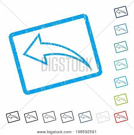Undo rubber watermark in some color versions.. Vector pictogram symbol inside rounded rectangular frame with grunge design and dirty texture. Stamp seal illustration, unclean emblem.