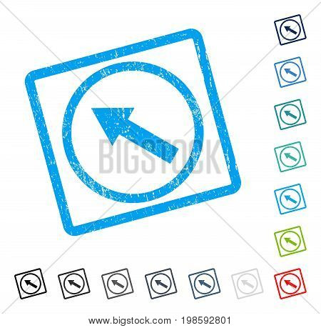 Up-Left Rounded Arrow rubber watermark in some color versions.. Vector icon symbol inside rounded rectangular frame with grunge design and dirty texture. Stamp seal illustration, unclean sticker.