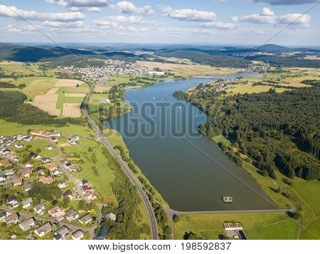 Aerial view of the Aar Dam and its reservoir the Aartalsee in Hesse Germany