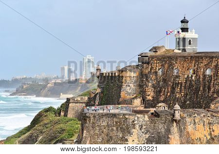 San Felipe del Morro fort in San Juan Puerto Rico- March 9 2017-tourists visiting the historic San Felipe del Morro fort