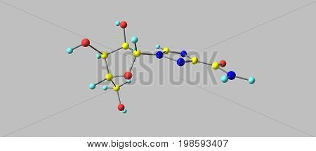 Ribavirin or tribavirin is an anti-viral medication used to treat RSV infection hepatitis C and viral hemorrhagic fever. 3d illustration
