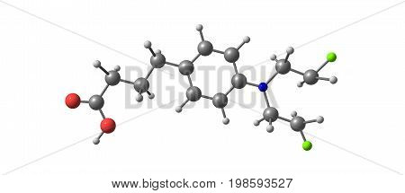 Chlorambucil Molecular Structure Isolated On White