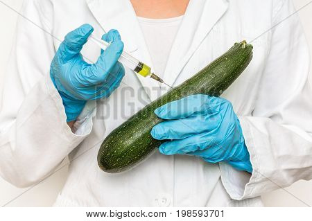 Gmo Scientist Injecting Liquid From Syringe Into Zucchini