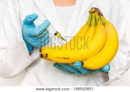 GMO scientist injecting liquid from syringe into bananas - genetically modified food concept