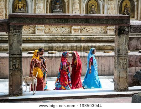 People At Mahabodhi Temple In Gaya, India