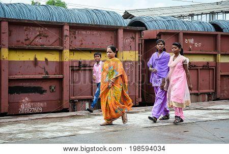 People Walking On Street In Bodhgaya, India