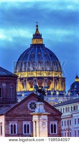 Brige Illuminated Vatican Dome Buildings Night Rome Italy