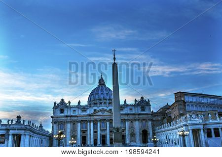 ROME, ITALY - JANUARY 18, 2017 Saint Peter's Basilica Obelisk Front Michelangelo Dome Statues Bernini Vatican Front