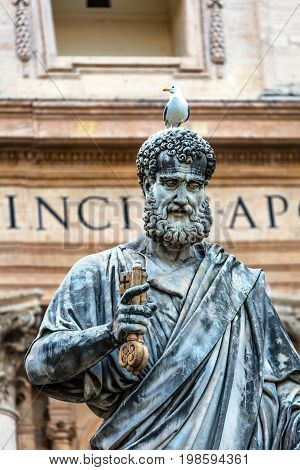 ROME, ITALY - JANUARY 18, 2017 Saint Peter Keys Statue's Seagull Basilica Vatican Rome Italy. Statue commissioned in 1847 by Giuseppe De Fabris.