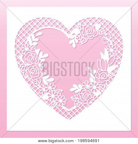Openwork floral frame with heart and roses. Laser cutting template for decoration greeting cards envelopes invitations interior decorative elements.
