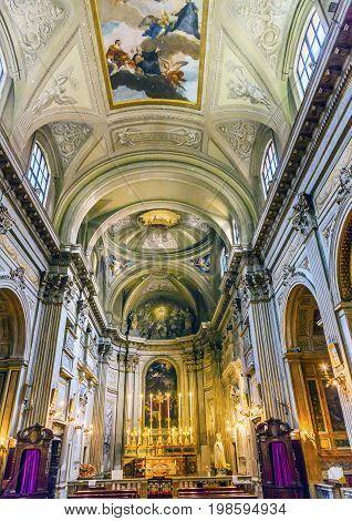 ROME, ITALY - JANUARY 18, 2017 Altar SS Vincenzo E Anastasio Church Basilica Dome Trevi Rome Italy. Vincenzo Anastasio Church is Baroque Church built in the 1600s next to Trevi fountain.