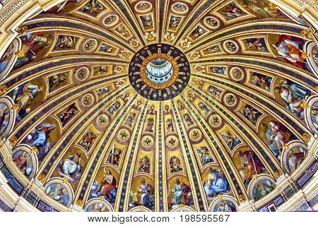 Michelangelo Dome Saint Peter's Basilica Vatican Rome Italy. Dome built in 1600s over altar and St. Peter's tomb