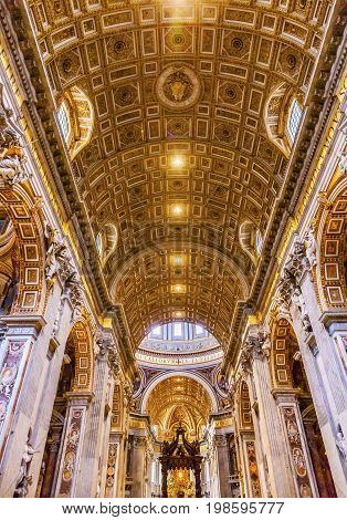 ROME, iTALY - JANUARY 8, 2017 Nave Saint Peter's Basilica Bernini Baldacchino Holy Spirit Dove Vatican Rome Italy. Baldacchino Canopy built in 1600s over altar and St. Peter's tomb