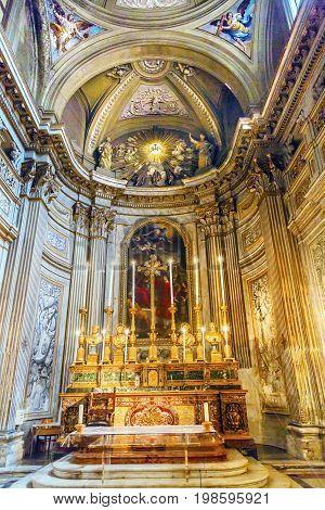 ROME, iTALY - JANUARY 8, 2017 Altar SS Vincenzo E Anastasio Church Basilica Dome Trevi Rome Italy. Vincenzo Anastasio Church is Baroque Church built in the 1600s next to Trevi fountain.