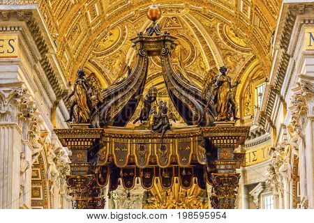 ROME, iTALY - JANUARY 8, 2017 Saint Peter's Basilica Bernini Baldacchino Holy Spirit Dove Vatican Rome Italy. Baldacchino Canopy built in 1600s over altar and St. Peter's tomb