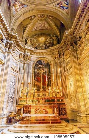 ROME, iTALY - JANUARY 8, 2017 Altar SS Vincenzo E Anastasio Church Basilica Dome Trevi Rome Italy. Vincenzo Anastasio Church is Baroque Church built in the 1600s next to Trevi fountain on old medieval church site.