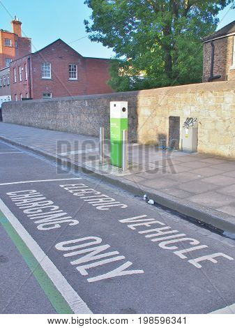 Dublin, Ireland - May 31, 2017: Electric vehicle parking space in Dublin, Ireland.