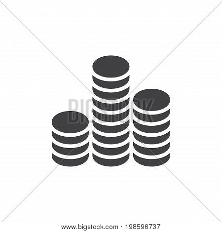 Coins stack icon vector, filled flat sign, solid pictogram isolated on white. Symbol, logo illustration. Pixel perfect vector graphics