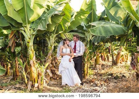 bride and groom smiling on nature. Wedding shot of bride and groom in park