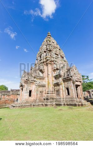 Impressive Prasat Hin Phanom Rung Ancient Khmer Temple under Vibrant Blue Sky Buriram Province of Thailand