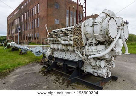 PEENEMUENDE GERMANY - JULY 18 2017: Old ship diesel engine. Territory of the Army Research Center. During the World War II the area was highly involved in the development and production of the V-2 rocket.