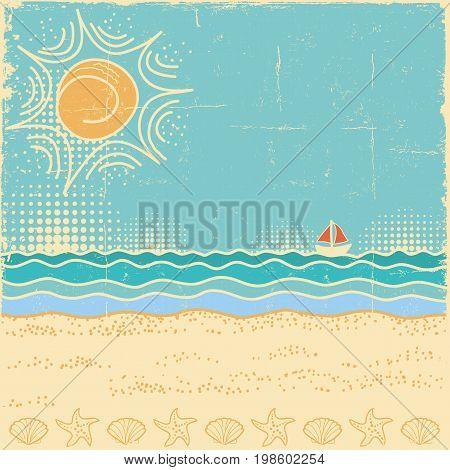 Beach Scene.vintage Sea Landscape With Waves And Sun Sky