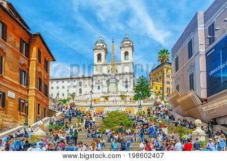 Rome, Italy - May 10, 2017 : Spanish Steps (scalinata Di Trinita Dei Monti), Obelisco Sallustiano On