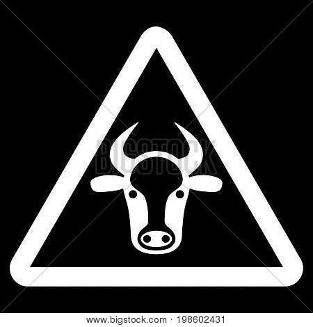 Cow Danger vector icon. Flat white symbol. Pictogram is isolated on a black background. Designed for web and software interfaces.