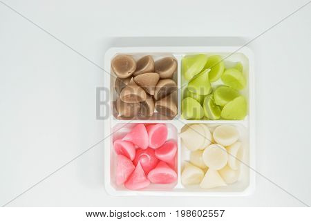 isolated sweet colorful Allure - Thai traditional dessert on white plate