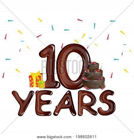 10 Years Anniversary celebration birthday. Vector illustration