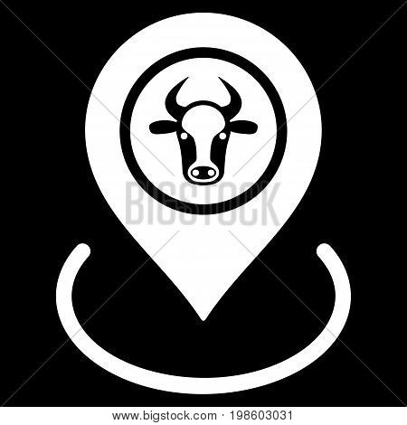 Cow Location vector icon. Flat white symbol. Pictogram is isolated on a black background. Designed for web and software interfaces.