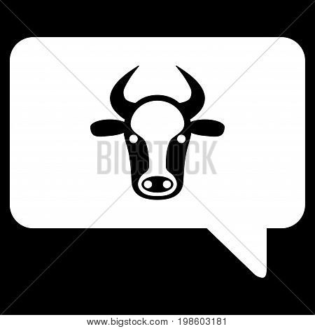 Cow Message vector icon. Flat white symbol. Pictogram is isolated on a black background. Designed for web and software interfaces.