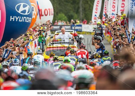 Tatranska Bukowina Poland. AUGUST 4. 2017: Czeslaw Lang Director of 74. Tour de Pologne starting last 7. stage.
